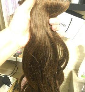 Волосы на заколках , натуральные, 45 см