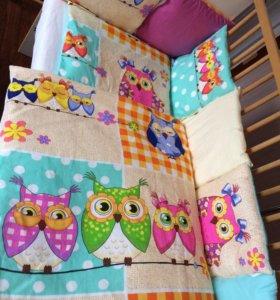 Комплект в кроватку, бортики, постельное бельё
