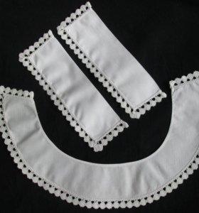 Белый воротник и манжеты с кружевом