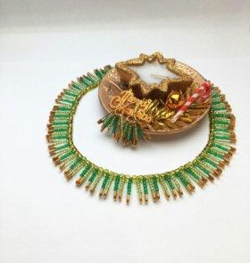 """Ожерелье и сережки """" Хвоя"""""""