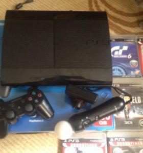 Продаю PlayStation3 super slim+ PS move.
