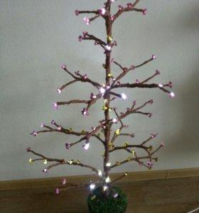 Декоративное светодиодное дерево