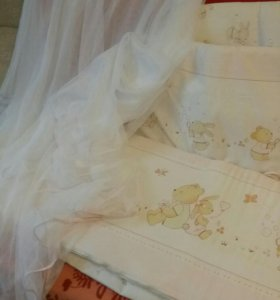 Бортики с балдахином/постельным бельем/подушкой