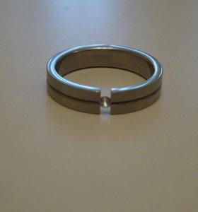 Кольцо мужское, сталь, фианит, 6,2 см, 20-21 разм.