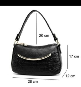Кожаная чёрная сумочка