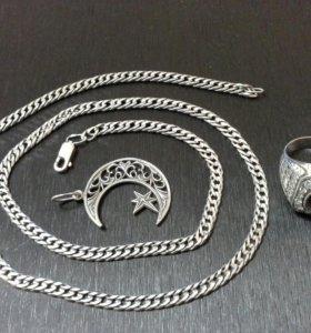 Цепь серебро, кулон, кольцо