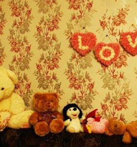 Объёмное интерьерное слово love в виде сердец