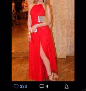 Шифоновое красное платье в пол