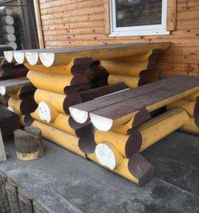 Срубы,рубленные столы и скамейки