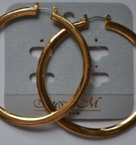 Серьги кольца с камнями