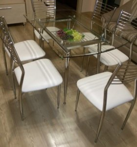 Стол стеклянный + 6 стульев из экокожи