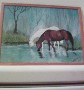 Лошади акрил