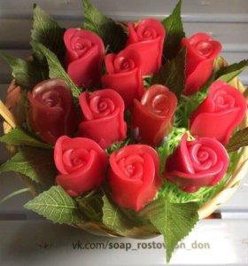 Корзинка цветов из мыла ручной работы