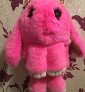 Сумка рюкзак заяц кролик меховой