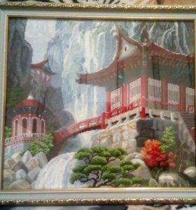 Водопад и пагода. Размер 40*35