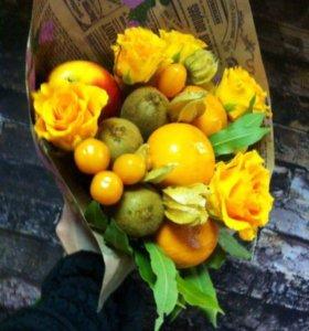 Цветы, букеты из овощей и фруктов.Съедобные букеты