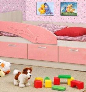 Детская кровать Дельфин с матрасом