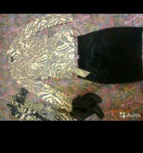 Теплый уютный пиджак и платье леопард S/М