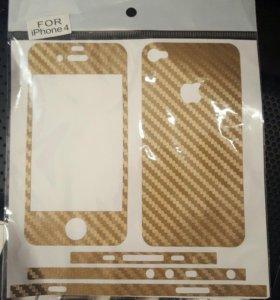 Наклейка (плёнка) карбон айфон 4 iphone 4