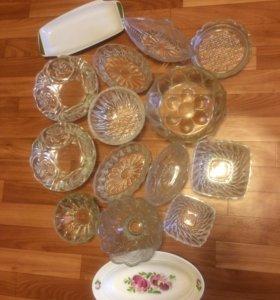 Посуда 15 предметов хрусталь салатницы цена за все