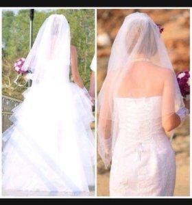 Свадебное платье  + шубка, фата