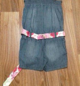 Полукомбнезон джинсовый для девочки