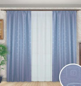 Светло-сиреневые шторы с тюлью для комнаты - А5