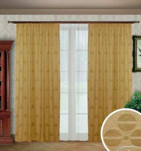 Темно-бежевые шторы для комнаты с тюлью - А3