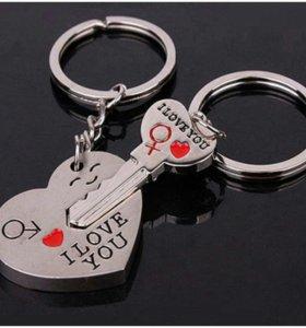 Подарок парный брелок ключ и сердце