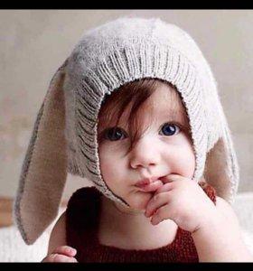 """Новая детская шапка """"кролик"""" с ушками серая"""