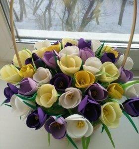 Корзины с цветами из фоамирана