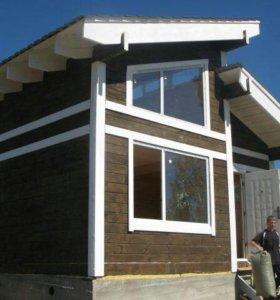 Теплый деревянный дом из профбруса