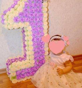 Декор на День рождения девочки (объемная единичка)