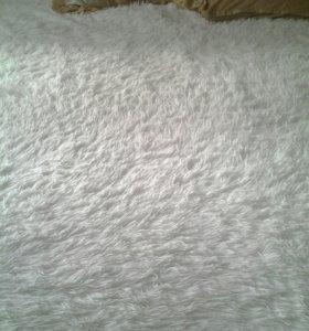 "Плед ""пушистик"", евро размер, цвет белый. Б/у 1мес"