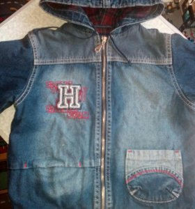 Курточка р.104 джинс.на флисе