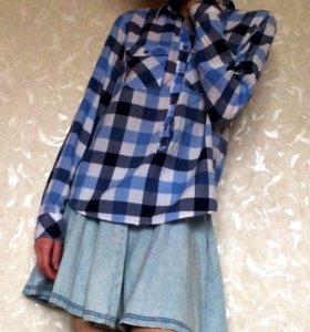 Синяя рубашка в клетку H&M