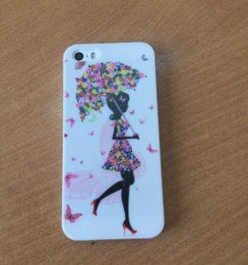 Чехол для iPhone 5 и 5 S Девочка с зонтом