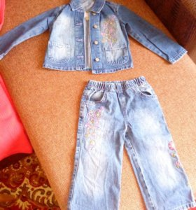 Костюмчик джинсовый+пончо