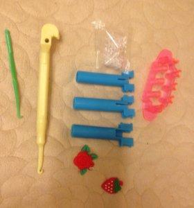 Крючки, рогатки,мини станок для плетения резинками