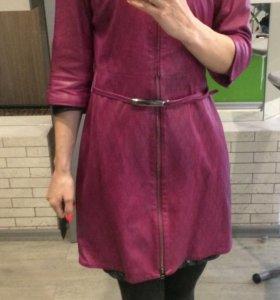 Кожаный плащ платье