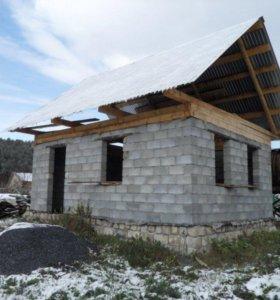 Недостроенный дом,участок,баня