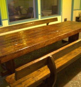 Деревянный стол ручной работы массива сосны