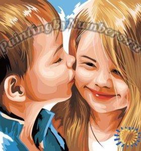 """Раскраска по номерам """"Детский поцелуй"""", 40х40 см"""