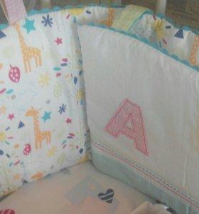 Борты в детскую кроватку+ подушка для новорожденны