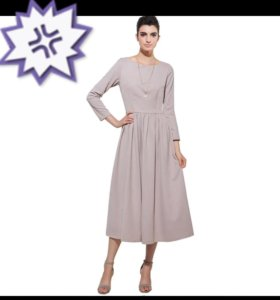 Платье с рукавом 48-50 бежевое