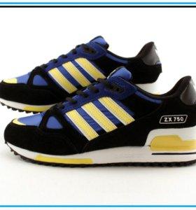 Кроссовки Adidas ZX750 чёрные с жёлтым