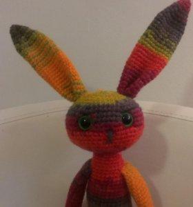 Игрушка вязаный заяц кролик зайка