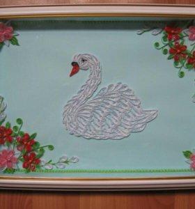 """Картина-панно """"Лебедь"""" в рамке"""