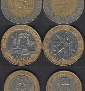 9 биметаллических монет Мира