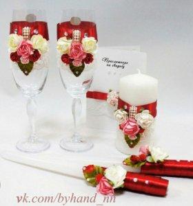 Свадебные аксессуары (фужеры, свечи)